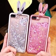 KL-Boutiques Rabbit Glitter Liquid Case sFor Coque Samsung Galaxy S7 edge Cover Dynamic Stand Phone Cases for Galaxy S7 S6 edge