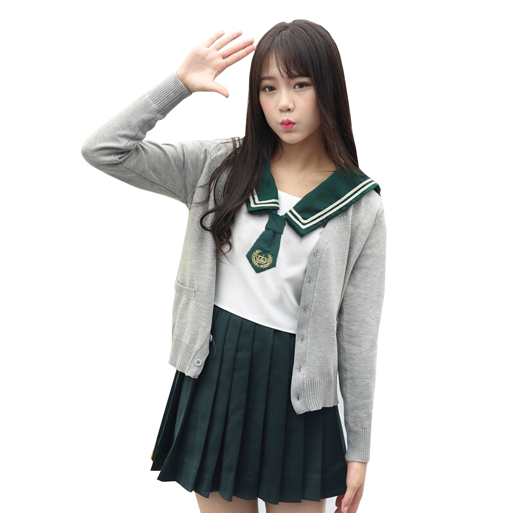 Green Japanese School Uniform Girls Anime COS Sailor Suit Crown Embroidered JK Navy Students Clothes For Girls XXL