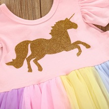 Baby Girls' Colorful Unicorn Romper