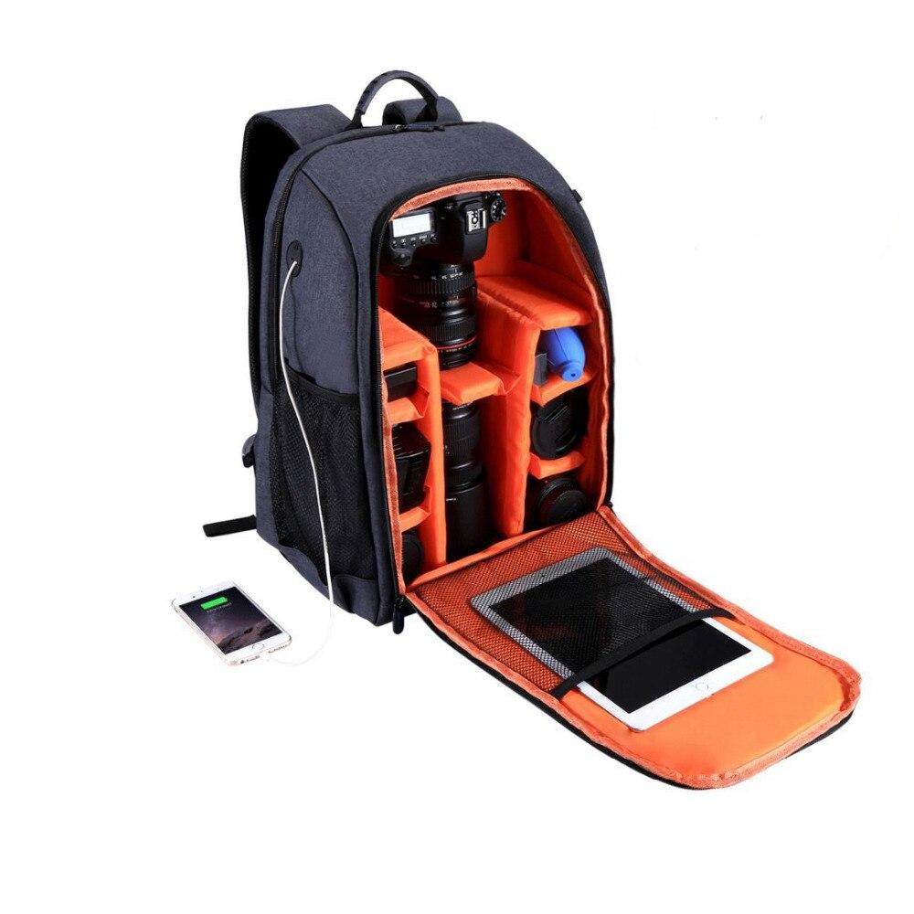 Envío libre PULUZ multifuncional impermeable Scratchproof Digital cámara DSLR foto Video cámara SLR hombro bolsa w/cubierta de la lluvia