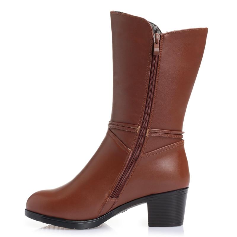 Hovinge Mujeres Wool Cuero Calientes Wool Invierno Piel Genuino brown Fur Fur With Black Interior Tacones Zapatos Botas Lana Altos brown black De rxCrBwqF