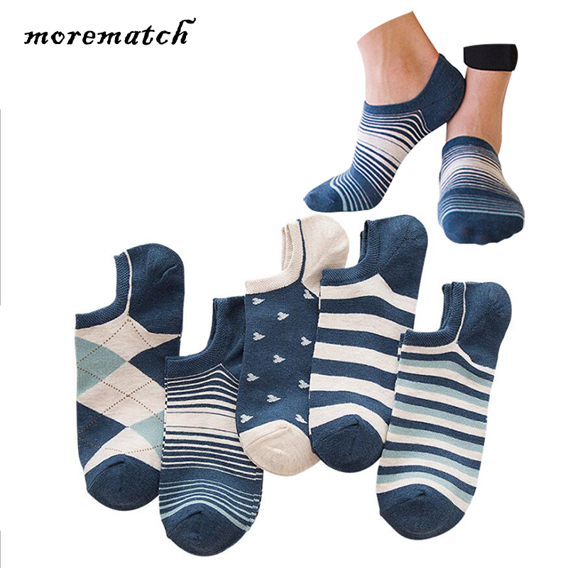 Morematch 5 Colors Spring Summer Men Sock Pinstripe Small Heart Shape Navy Blue Cotton Socks No Show Socks