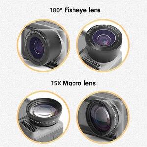 Image 4 - 2 in 1 15X Makro Breite Fisheye objektiv Kamera Kit für DJI Osmo Action Optische Glas Objektiv Vlog schießen Zusätzliche Objektive Zubehör