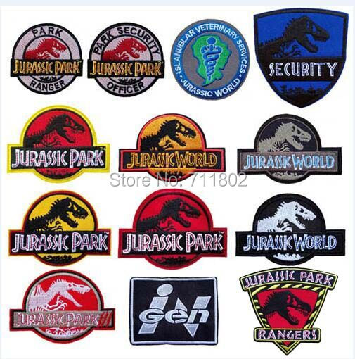 Fashion Jurassic Park Iron On Patches Biker Vest Patch Embroidery