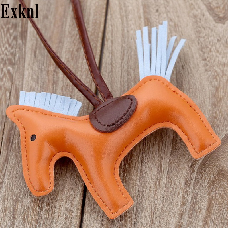 Exknl Famous Luxury Handmade PU Leather Horse Keychain Animal Key Chain Women Bag Charm Pendant Accessories Fashion Jewelry