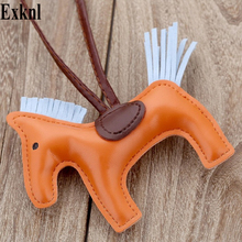 Exknl Famous Luxury Handmade PU Leather Horse Keychain Animal Key Chain Women Bag Charm Pendant Accessories Fashion Jewelry famous brand luxury genuine real leather lucky love heart keychain heart key chain women bag charm bag pendant accessories