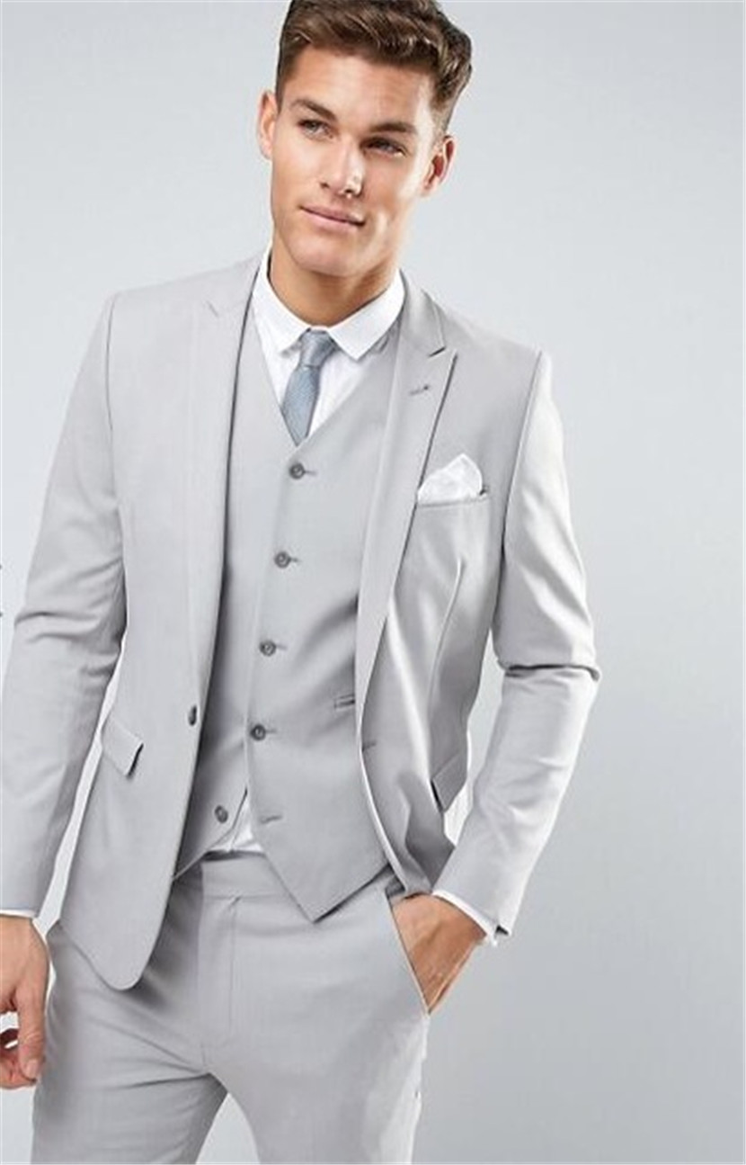 Latest Coat Pant Designs Light Grey Men Suit Wedding Suits Slim Fit Skinny Jacket Custom Costume Groom Tuxedo 3 Piece Masculino