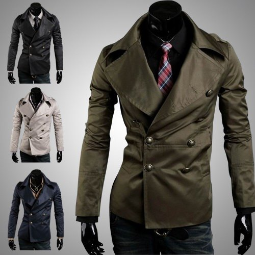 New Korean Fashion Men Slim Fitted Double Breasted Short Trench ...