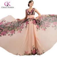 7502 Free Shipping 2015 New Fashion Sexy Backless Double V Neck Flower Printed Chiffon Evening Dress