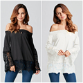 ZANZEA Women 2017 Sexy Slash Neck Off Shoulder Long Sleeve Ladies Flare Hollow Out Lace Splice Blouses Shirts Casual Solid Tops