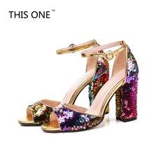 Это один новый блестками ткань босоножки на высоком каблуке Для женщин открытый носок Bling обувь мода 2018 Лето Ремешок на щиколотке Свадебные женской обуви