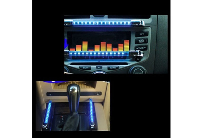 DC 12v Blue 2 Pcs 15 LED Car Sound Effect Control Music Light SW-3046 HR