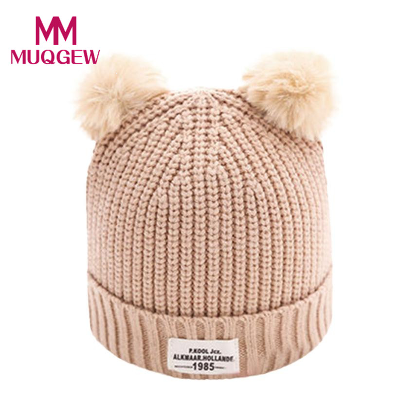 1bcd3f5b2bd Best buy Pink Black Gray Beige Baby hat winter Ball Cap Warm caps Knitted  Cotton Hemming beanie for 0 12 Months Newborn Photography props online cheap