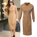 United States Autumn 2016 New Women's Fashion Solid Color All-match Slim Long Sleeved Suede Dress