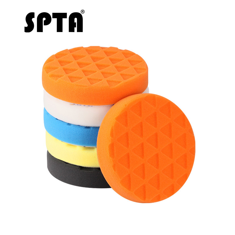 SPTA 5 inch (125mm ) Compound Buffing Pads Polishing Buffer Pad 5Pcs For Car Polisher Yellow/Red/Blue/Black/White--Select ColorSPTA 5 inch (125mm ) Compound Buffing Pads Polishing Buffer Pad 5Pcs For Car Polisher Yellow/Red/Blue/Black/White--Select Color