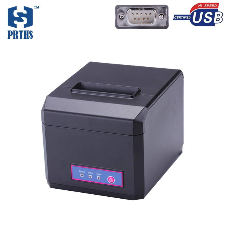 80mm Serial interface thermal printer support download logo printing with metallic teeth blade support multi-language HS-E81US 80mm thermal barcode lable printer support usb serial parallel ethernet double interface adhesive sticker printer machine