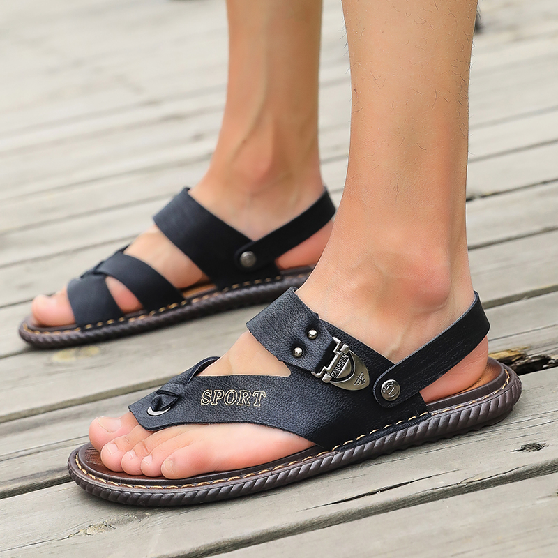 2019 new men's toe leather sandals breathable outdoor casual beach sandals comfortable and soft(China)