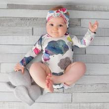 2pcs Child Cute Trend O-Neck Cartoon Cloud Doodle Print Lengthy Sleeve Romper Headband Go well with roupa de bebe carters