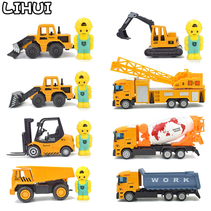 8 Kinds Alloy Engineering Car Toys Diecast Rotate Pull Back Excavator Crane Simulation Model Educational Toy Gift For Children