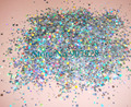 30gram x Laser Silver Color Mixed Solvent Resistant Shining Glitter Strips+Round Shape for Nail Art Polish&Gel Acrylic Nail