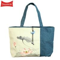 Soomile Handgeschilderde Speciale China wind handtas Bloem schilderij Doek tas vrouwen stof De enkele schoudertas Meisje katoen tas