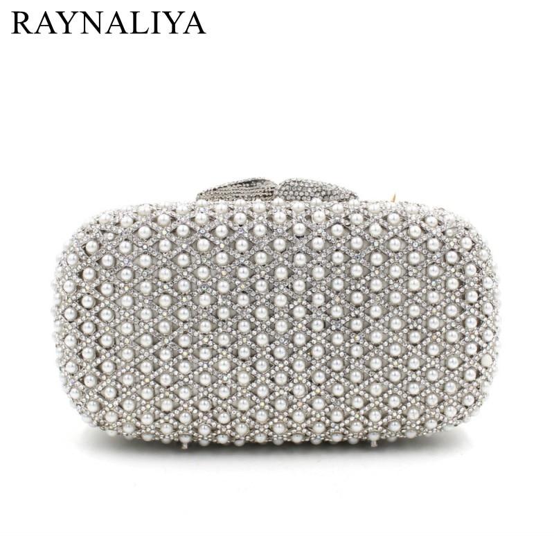 2017 Luxury Pearls Beaded Purse Evening Clutch Bag Wedding Clutch Diamond Evening Bags Bride Wallet Chain Handbags SMYZH-E0049