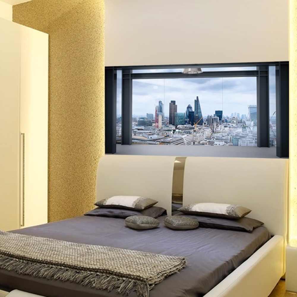 Новый короткий стиль креативный вид на город кровать стенка изголовья стикер обои настенные наклейки прикроватные спальни Виниловые обои