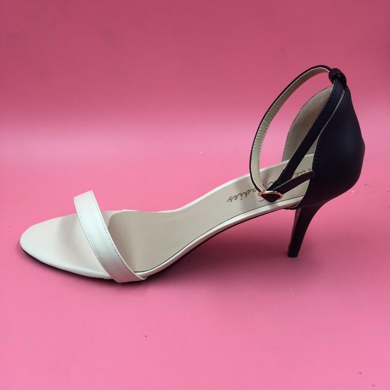Black and Nude Simple Women Sandal OL Shoes Slingbacks Soft Leather 7cm Med Heels Stilettos Womens Sandals Summer 2016 simple cm 379