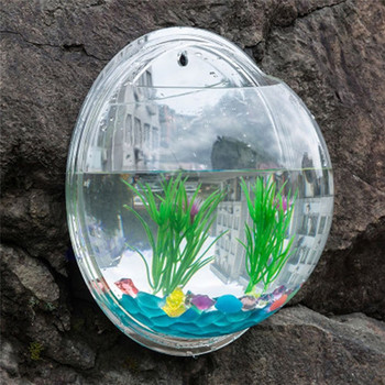 15CM Diameter Pot Plant Wall Mounted Hanging Aquarium Transparent Acrylic Fish Bowl Fish Tank Flower Plant Vase Home Decoration 1