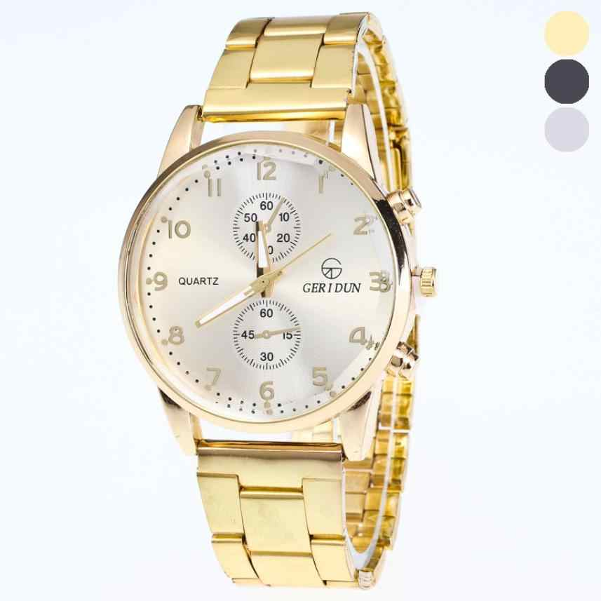 Mannen Heren Gold Horloges Diamond Dial Gold Steel Analoge Quartz Horloge drop shipping 2018JUL10