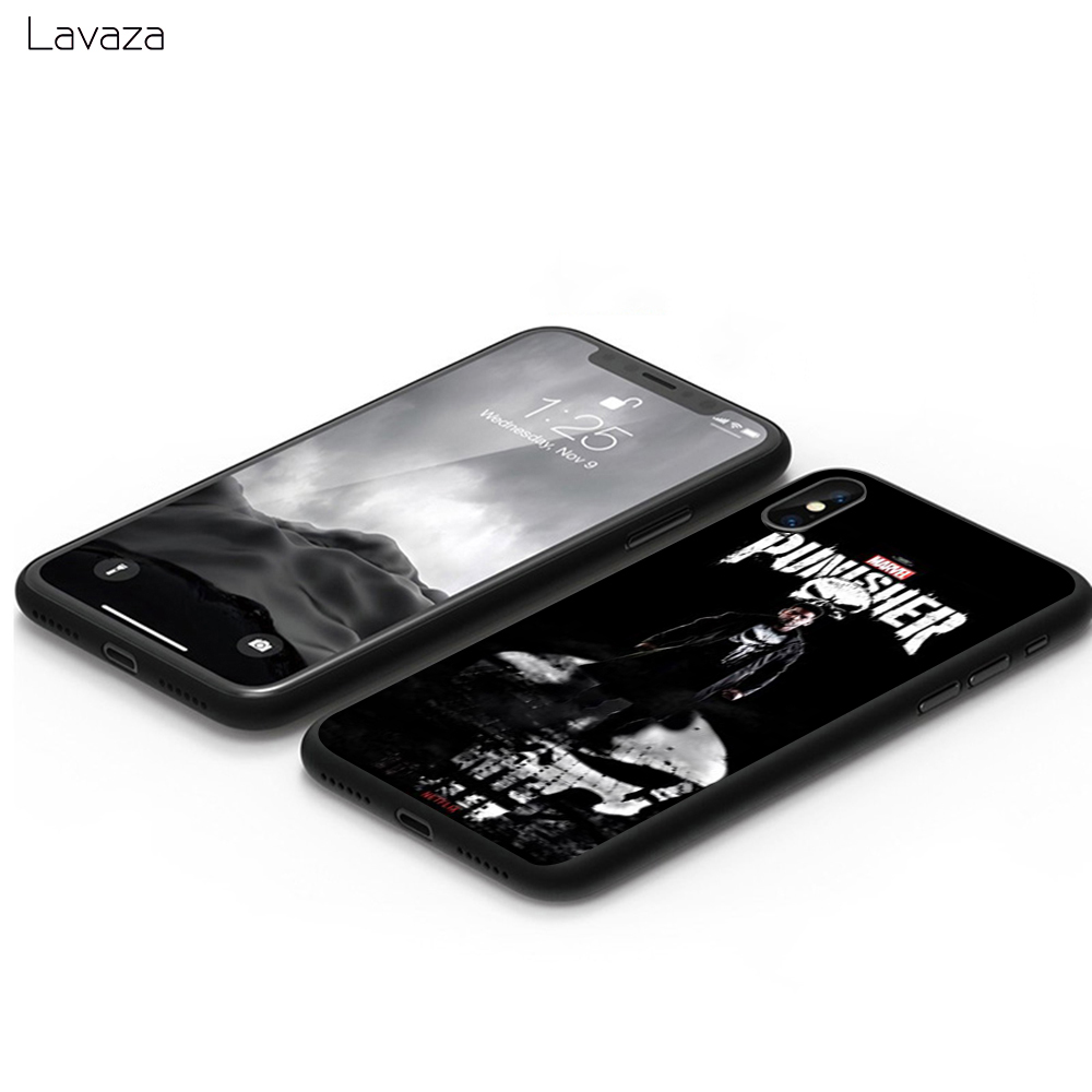 Lavaza Comic schwarz punisher Anime Soft Case for Apple iPhone 6 6S 7 8 Plus 5 5S SE X XS MAX XR TPU Cover in Fitted Cases from Cellphones Telecommunications