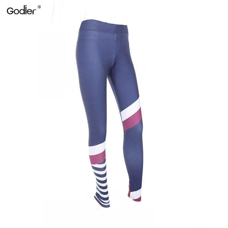 Godier Pattern Print Splicing Leggings Fitness Line Leggings For Women Workout Leggins Elastic Slim Blue Pants Jc0052