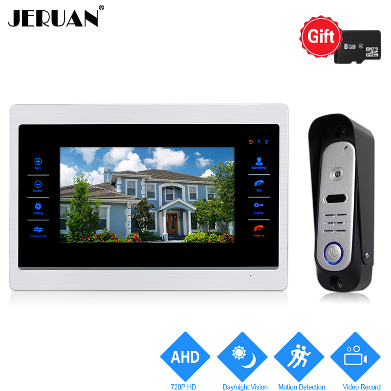 JERUAN 720P AHD 10 inch Video Door Phone Doorbell Unlock Intercom System Record Monitor +1.0MP HD COMS Camera With 8GB SD Card jeruan ip wifi 7 inch touch screen video doorbell intercom system kit 720p ahd record monitor ir coms camera support android ios