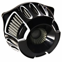 Shallow Cut Billet Black Stage 1 Air Cleaner For Harley Dyna Softail Twin Cam 1999 2015 Models