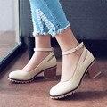 2016High-heeled Мода Вырезы Насосы Твердые Женщины Мягкие Кожаные Резиновые Повседневная Обувь Весна/Осень Большой размер обувь Римских обувь