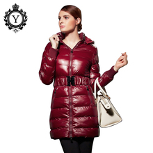 2016 COUTUDI New Hot Cosy Winter Jacket Woman Padded Coat Luxury Super Slim Ultra Light Nylon Long Puffer Jacket With Hood LC67