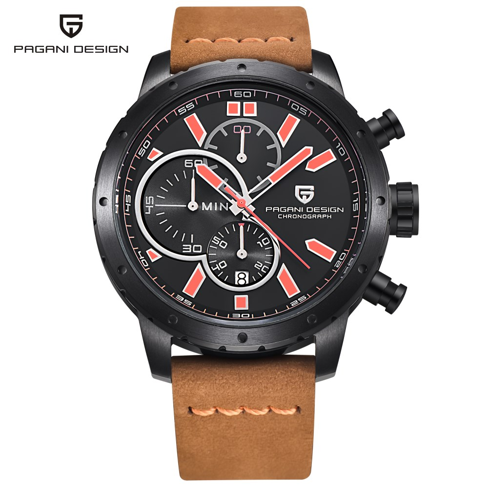 Men Watches Waterproof Chronograph Sport Quartz Watch Luxury Brand PAGANI DESIGN Military Wristwatches Clock Relogio Masculino luxury brand pagani design waterproof quartz watch army military leather watch clock sports men s watches relogios masculino