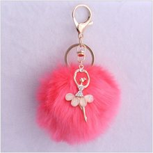 cute Pom pom Angel Girl plush keychains small pendant plush toys Women Bag Key Ring creative Valentine's day birthday gifts(China)