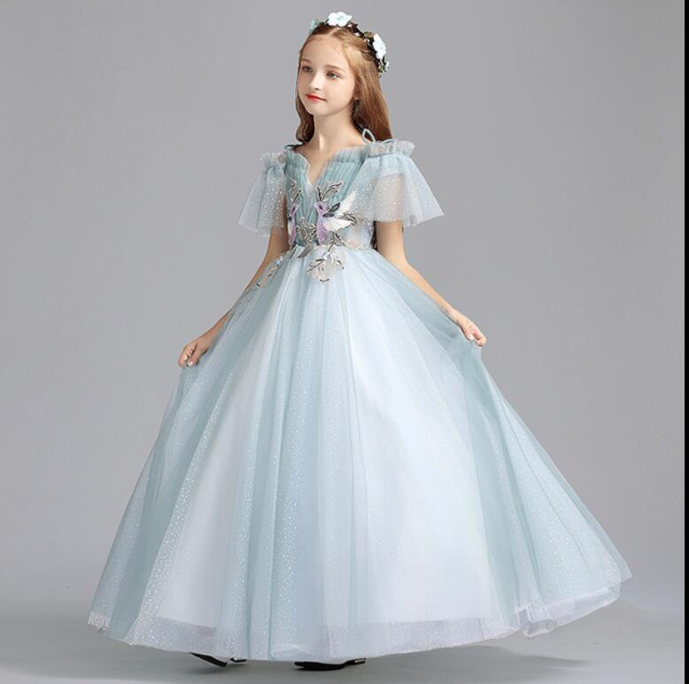Luxury Blue Tulle Girl Dress Kids Wedding Dress Ankle Length Appliques Bead Kids Party Prom Dress First Communion Dresses HW2315Luxury Blue Tulle Girl Dress Kids Wedding Dress Ankle Length Appliques Bead Kids Party Prom Dress First Communion Dresses HW2315