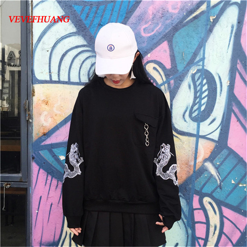 Women Autumn Spring Fashion Korean New Style Ulzzang Dragon Embroid Loose Hoodie Comfortable Arbitrary Combination Black Hoodies