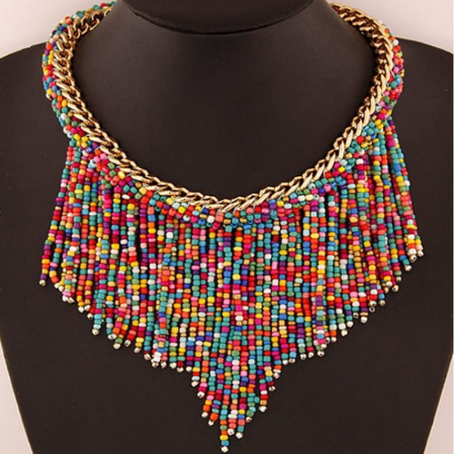 1218ecdd1ea3 Exótico sentimientos Manual puro pequeñas perlas mujeres joyería étnica  gargantilla collares bohemio borla accesorio collar