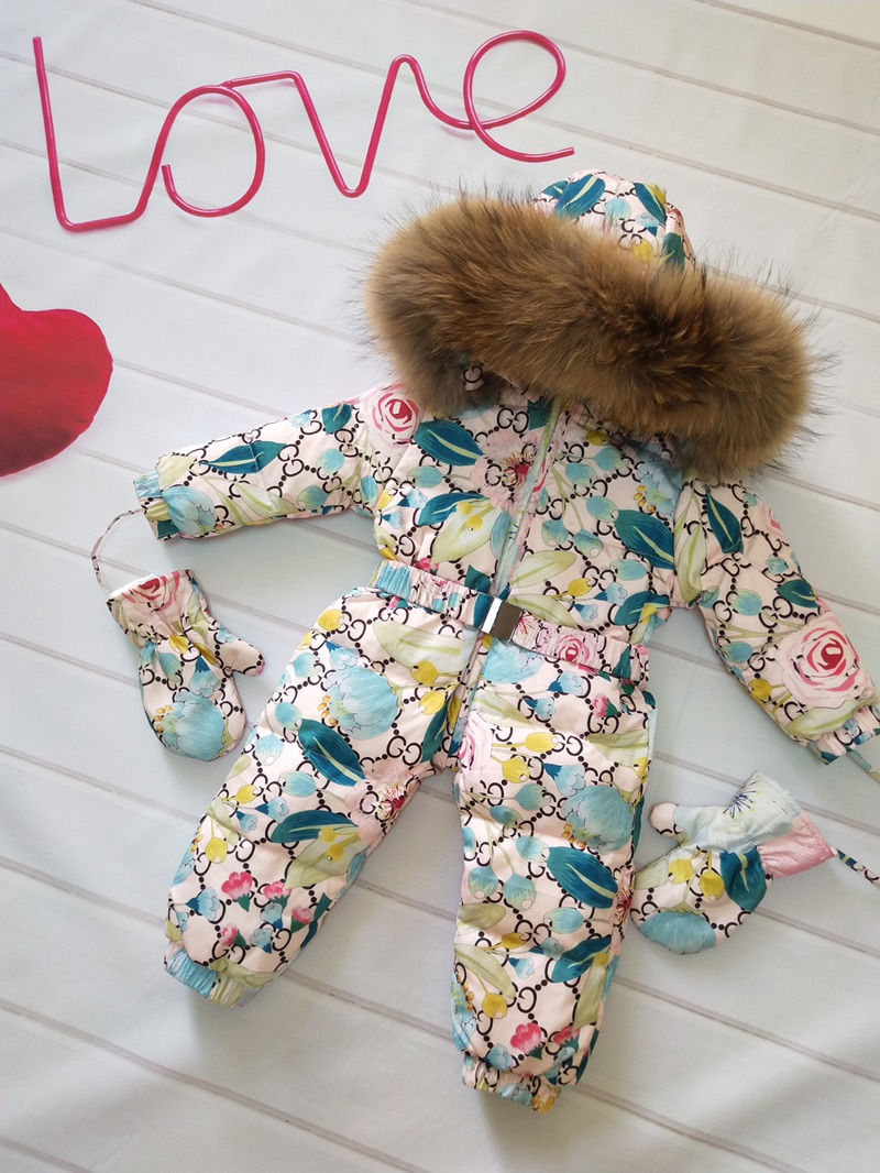 Russia Winter Kids Girls Boys Snowsuit Jumpsuit Baby White Duck Down Jackets Overall Children Real Raccoon Fur Hooded Rompers buenos ninos thick winter children jackets girls boys coats hooded raccoon fur collar kids outerwear duck down padded snowsuit