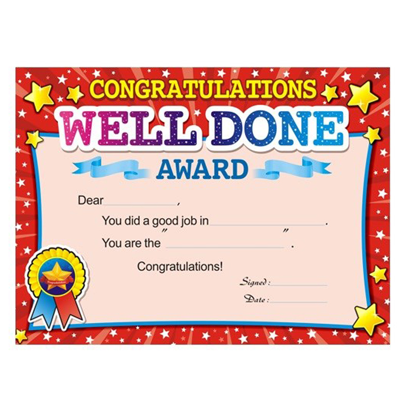 50pcs Student Prizes English Training Award Certificate Paper Quality English Certificate Awards Commendation Teaching Supplies