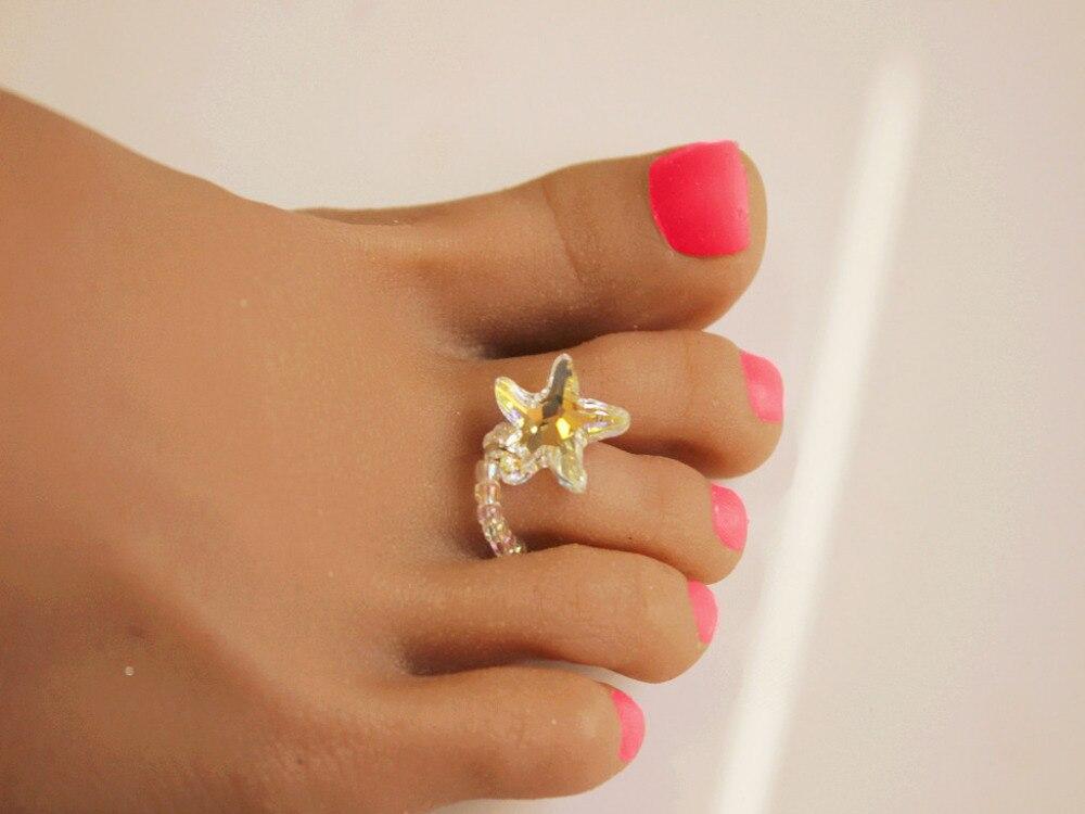 Handmade 16mm Starfish best quality sexy Austria crystal toe ring