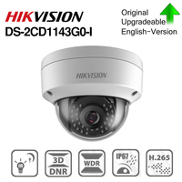 Hikvision DS 2CD1143G0 I POE Camera Video Surveillance 4MP IR Network Dome Camera 30M IR IP67 IK10 H.265+ SD card slot