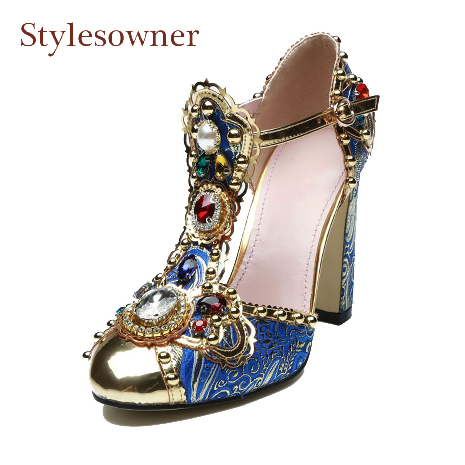 Stylesowner brand design runway style high heel shoes metal decor luxury rhinestone mary jane shoe genuine leather buckle sandal перьевая ручка parker sonnet pink gold синий хромированные детали перо f s0947260 parker s0947260