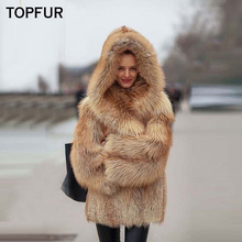 TOPFUR 2018 New Fashion Real Red Fox Fur Coats For Women With Hood Thick Warm Winter Jackets Full Pelt