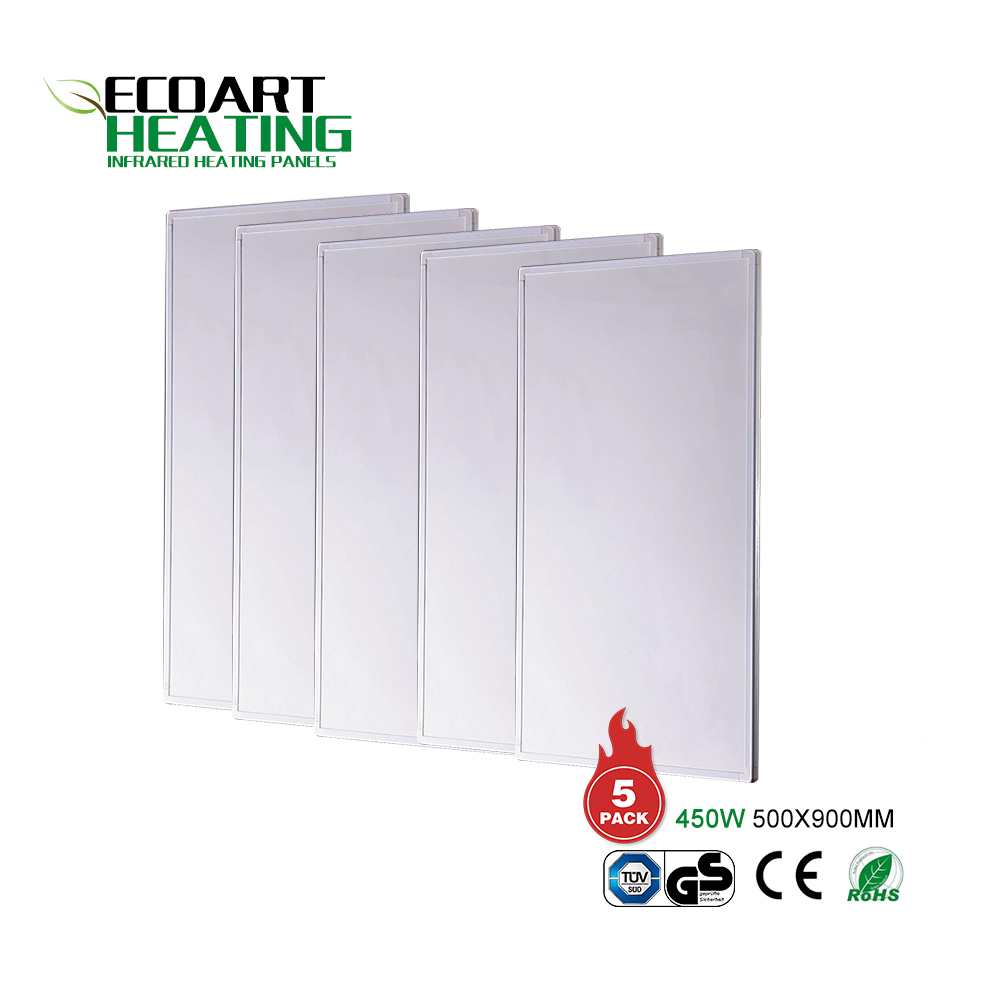 Slimline Electric Wall Mounted Panel Heater Home Heating Eco Friendly IR Panel Heater 5PACK 450W 500x900mm