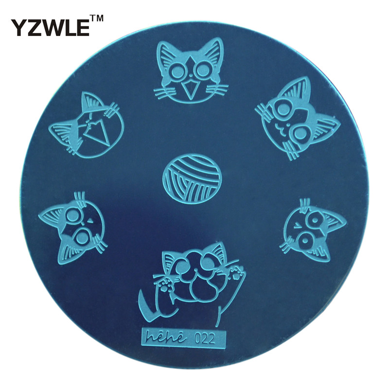 YZWLE 1 Sheet Stamping Nail Art Image Plate, 5.6cm Stainless Steel Template Polish Manicure Stencil Tools (hehe-022)