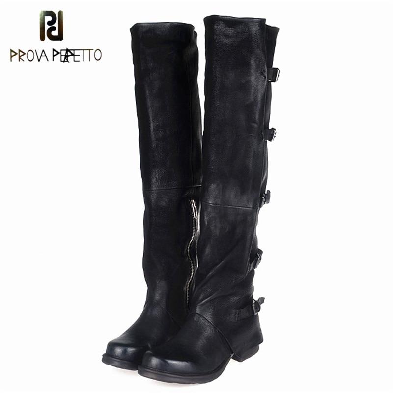 Prova Perfetto Concisc D'hiver Solide Sur Le Genou Chaussures Femmes en peau de Mouton Bottes Européenne Ceinture Boucle Design De Mode Mince Boot